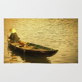 Vietnamese Boat at Sunset Rug