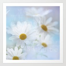 white daisies with text Art Print
