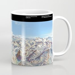Sky Panorama Map of Yosemite National Park with Labels Coffee Mug