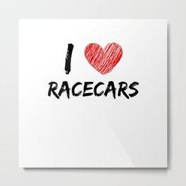 I Love Racecars Metal Print