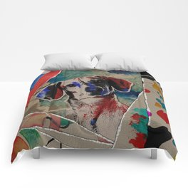 Dachshund Abstract mixed media digital art collage Comforters