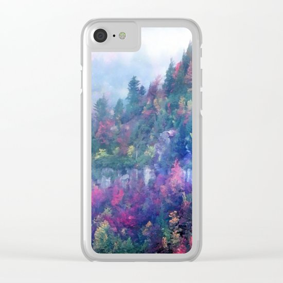 Fog over a colorful fall mountain forest Clear iPhone Case