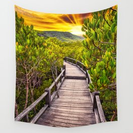 Mangrove Forest Sunset Wall Tapestry