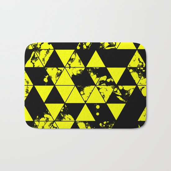 Splatter Triangles In Black And Yellow Bath Mat