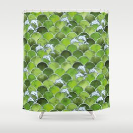 Wave Jumpers (Green) Shower Curtain