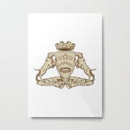 Pitbull Dog Coat of Arms Etching Metal Print