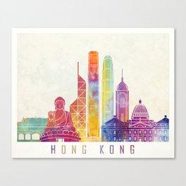 Hong Kong landmarks watercolor poster Canvas Print