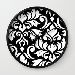 Flourish Damask Art I White on Black Wall Clock