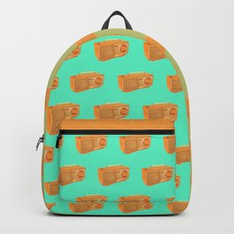 """Classic Retro Vintage Atlas Radio Pattern Orange and Green"" Backpack"