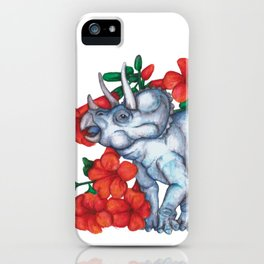 T is for Triceratops and Trumpet Vine iPhone Case