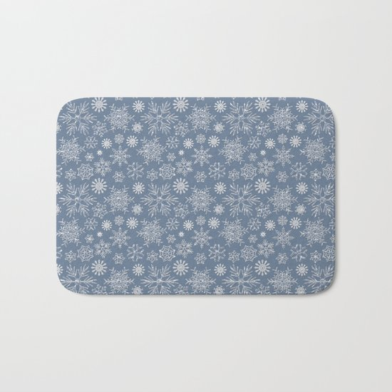 Merry Christmas- Abstract christmas snow star pattern on fresh grey Bath Mat