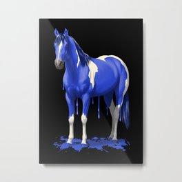 Royal Blue Dripping Paint Horse Metal Print