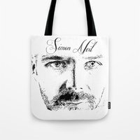 neil gaiman Tote Bags featuring Simon Neil - Biffy Clyro  by McFREE