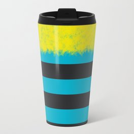 Blue and Charcoal Stripes with Yellow Travel Mug