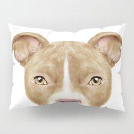 Pit Bull light Brown 2,Dog illustration original painting print Pillow Sham