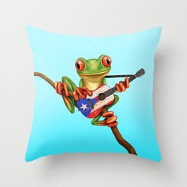 Tree Frog Playing Acoustic Guitar with Flag of Puerto Rico Throw Pillow