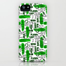 Gamer Lingo-White and Green iPhone Case