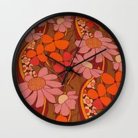 50s Wall Clocks featuring Crazy pinks 50s Flower  by Follow The White Rabbit
