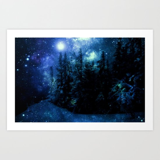 Galaxy Winter Forest Deep Blue Green Art Print