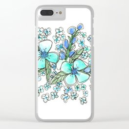 Blue Forget Me Not Floral Watercolor Clear iPhone Case