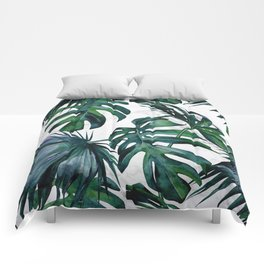 Tropical Palm Leaves Classic on Marble Comforters