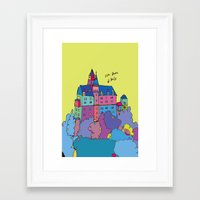 castle in the sky Framed Art Prints featuring castle by PINT GRAPHICS