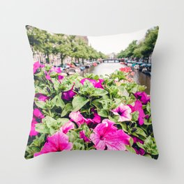 Pink Amsterdam Flowers above Canal | Europe Travel City Urban Landscape Photography Throw Pillow