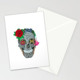 Lady Skull ready to party Stationery Cards