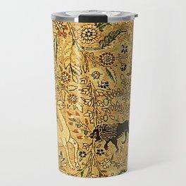 Antique Persian Tabriz Animal Rug Print Travel Mug