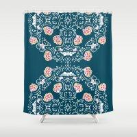 folk Shower Curtains featuring Folk by katharine stackhouse