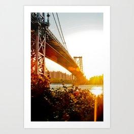 Sunset at Williamsburg Bridge Art Print
