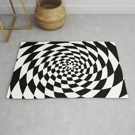 Optical Illusion Op Art Black and White Retro Style Rug