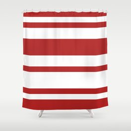 Mixed Horizontal Stripes - White and Firebrick Red Shower Curtain