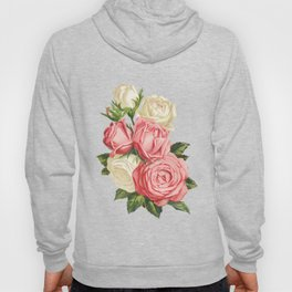 Coral pink blush cream ivory and green summer big roses Hoody