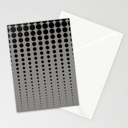 Reduced Black Polka Dots Pattern on Solid Pantone Pewter Background Stationery Cards