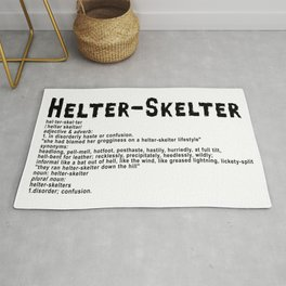 Helter Skelter (black on White) Rug