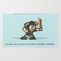 skyrim Area & Throw Rugs featuring 8 bit Dovahkiin by Deep Search