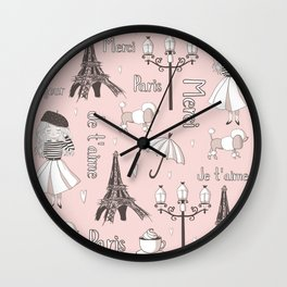 Paris Girl - Pink Wall Clock