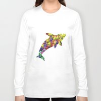 killer whale Long Sleeve T-shirts featuring Killer Whale Print Watercolor Triangles Orca by DreamMachinePrints