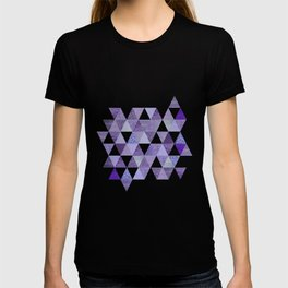 Glamorous Purple Faux Glitter And Foil Triangles T-shirt