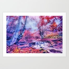 Waterfall in colorful autumn forest Art Print