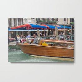 Macho Cigarette Smoking Boatman in Venice Metal Print