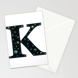 Letter K Monogram Fern Green Crystal Mixed Media Stationery Cards