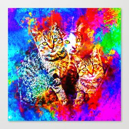cat trio splatter watercolor colorful background Canvas Print