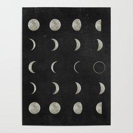 Moon Phases, Black White Decor, Bohemian, Magic, Lunar Cycle Poster