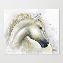 White Horse Watercolor Painting Animal Horses Canvas Print