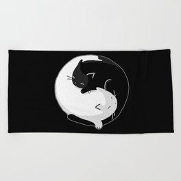 Yin Yang Cats Beach Towel