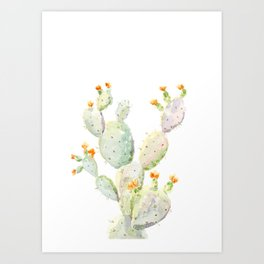 Prickly pear cactus. Opuntia Art Print
