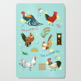 Cute seamless roosters pattern cartoon Cutting Board