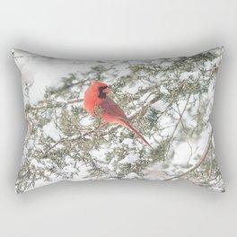 Cardinal on a Snowy Cedar Branch Rectangular Pillow